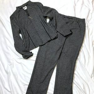 Herringbone Jacket & Pant Set /Faux Leather Detail